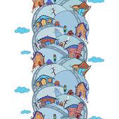 Seamless vertical pattern with cartoon houses — Vector de stock
