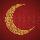 Moon on red paper background for holy month of muslim community Ramadan Kareem. Vector illustration — Stock Vector