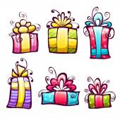 Vector set of brightly gift cartoon box — ストックベクタ