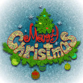 Vector illustration of Merry Christmass label for your design — Vector de stock