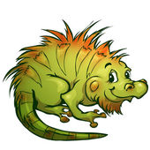 Vector illustration of iguana in cartoon style — Vector de stock