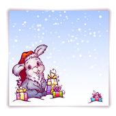 Vector illustration of hare in Christmas hat — Cтоковый вектор
