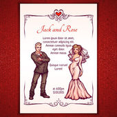 Vector illustration of elegant wedding invintantion with bride and groom — Stockvector