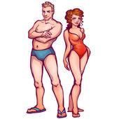 Vector illustration of man and women in swimsuit — Cтоковый вектор