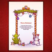 Vector illustration of Christmas Gate with snowman ant fir-tree — Vector de stock