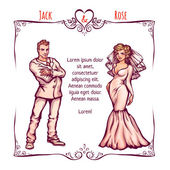 Vector illustration of elegant wedding invintantion with bride and groom — Cтоковый вектор
