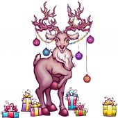 Vector illustration of Christmas deer in cartoon style — Stock Vector