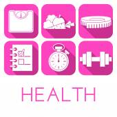 Vector set of health icon in flat style — Stock Vector