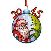 Vector illustration of fur-tree toy with funny Santa Claus — Stockvektor