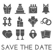 Vector save the date set. Flat design — Stock Vector