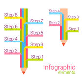Colored pencil with some note. Vector infographic elements. — Stock Vector