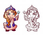 Christmas illustration of funny Snow-Maiden — Stock Photo