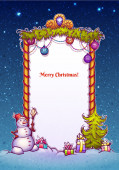 Illustration of Christmas Gate with snowman ant fir-tree — Stock Photo