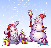 Illustration of hare and snowman — Stock Photo