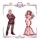 Illustration of elegant wedding invintantion with bride and groom — Stockfoto
