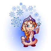 Christmas illustration of funny Snow-Maiden — Stock Photo