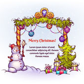 Vector illustration of Christmas Gate with snowman ant fir-tree — Stockvektor