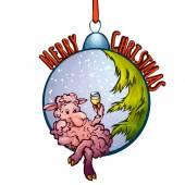 Vectorillustratie van bont-boom speelgoed met grappige schapen — Stockvector