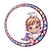 Vector illustration of frame with cute angel — Stock Vector