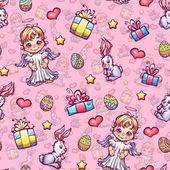 Vector seamless pattern of cartoon Easter elements — Vector de stock