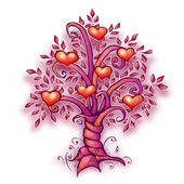 Vector illustration of cartoon love tree with hearts — Stock Vector