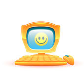 Vector illustration of yellow computer with smile — Stockvektor