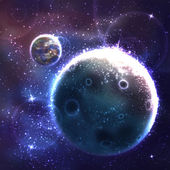Vector space background with unknown planet — 图库矢量图片