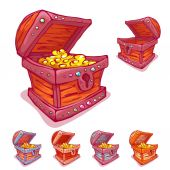 Vector illustration of treasure chest with and without coins — 图库矢量图片