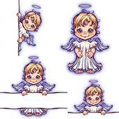 Vetor definido de anjo bonito com painel para texto — Vetor de Stock