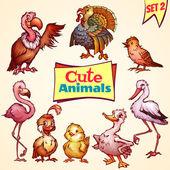 Vector set of cute birds. Turkey, goose, flamingo and etc. — Stock Vector