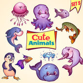 Vector set of cute sea animals. Dolphin, pike, octopus and etc. — Wektor stockowy