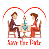 Vector illustration of romantic date  in restaurant — Stock Vector