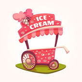 Vector flat illustration of Ice Cream cart — Stok Vektör
