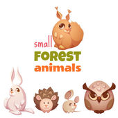 Vector set of small forest cute animals — Stock Vector