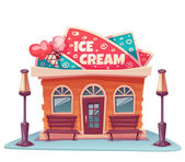 Vector illustration of ice cream shop building with bright banner — Stock Vector