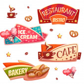 Vector set of brightly banners for cafe, bakery, ice cream shop and restaurant — Stock Vector