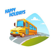 Vector illustration of school bus on background — Stock Vector