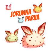 Set di lumaca di mare carina Jorunna Parva. Illustrazione di vettore — Vettoriale Stock