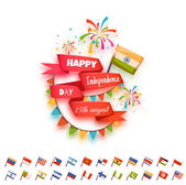Happy independence day banner for many country. Red ribbon with flag. Vector illustration — Stock Vector