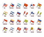 Vector set of fags. philippine, india, argentina, russia, morocco, peru, honduras, costa rica, indonesia, pakistan, colombia, jordan, usa, venezuelan, algeria, poland, panama, finland, tunisia, ghana — Stock Vector