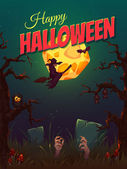 Halloween party poster with witch and moon. Vector illustration — Stock Vector