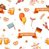 Seamless pattern with oktoberfest celebration symbols — Stock Vector