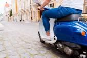 Riding new scooter — Foto de Stock