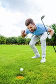 Golfer shouting at ball — Foto de Stock