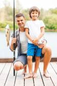 Padre e hijo de pesca — Foto de Stock