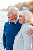 Feeling safe and peaceful. Happy senior couple standing on the quayside together and smiling — Stock Photo