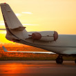 Airplane landing in airport — Stock Photo #55974771