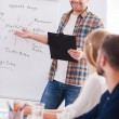 Man standing near whiteboard and pointing it — Stock Photo #56583005