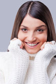 Woman in white sweater — Stock Photo