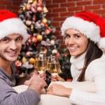 Couple in Santa hats drinking wine on Christmas — Stock Photo #59295073